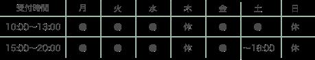 診療時間:月・火・水・金:10:00-13:00 / 15:00-20:00 土:10:00-13:00 / 15:00-18:00